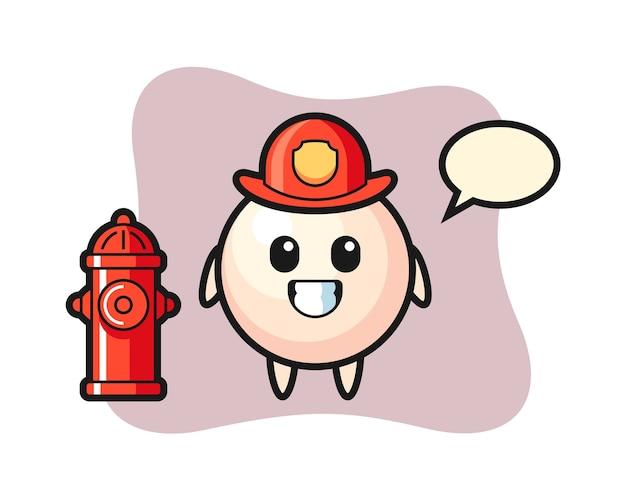 Personaje de mascota de perla como bombero