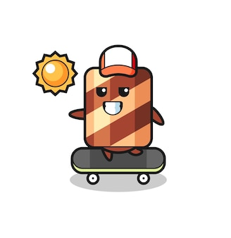 Personaje de mascota de rollo de oblea con gesto enérgico, diseño de estilo lindo para camiseta, pegatina, elemento de logotipo