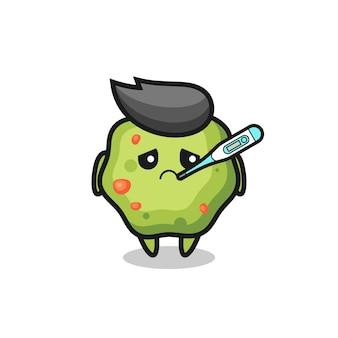 Personaje de mascota vómito con condición de fiebre, diseño de estilo lindo para camiseta, pegatina, elemento de logotipo