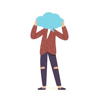 Personaje masculino con cara de burbuja de discurso aislado sobre fondo blanco. comunicación con globo de diálogo de nube de voz