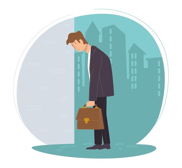 Personaje masculino desempleado triste por perder el trabajo. hombre con maletín, empleado deprimido fue despedido en el trabajo. personaje desesperado en el fondo del paisaje urbano. expresión infeliz de la persona. vector en estilo plano