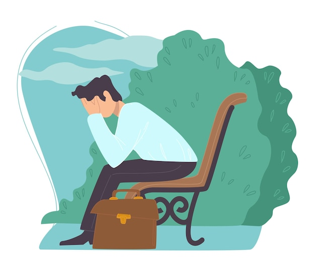 Personaje masculino despedido del trabajo. hombre sentado en el parque con la cabeza entre las manos pensando en el futuro. personaje desempleado con maletín. problemas económicos y laborales de la persona. vector en estilo plano