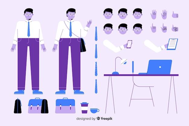 Personaje masculino de dibujos para diseño de movimiento