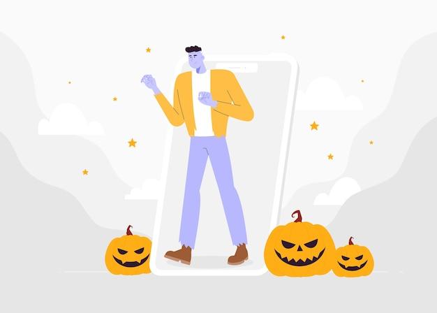 Personaje masculino disfrazado de monstruo de frankenstein en la pantalla del teléfono inteligente celebrar halloween. fiesta navideña en línea.