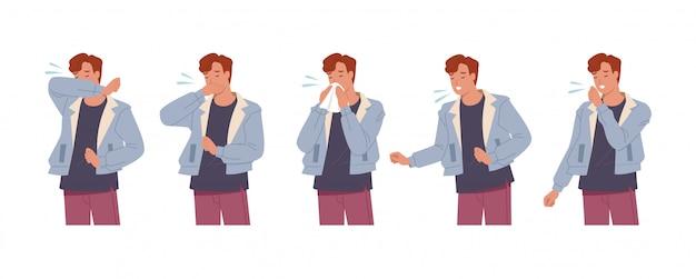 Personaje masculino estornudando y tosiendo bien y mal. hombre tosiendo en brazo, codo, tejido. prevención contra virus e infecciones. ilustración de vector en un estilo plano