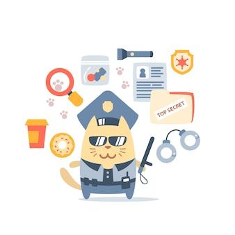 Personaje masculino gato policía en gorra de oficial sosteniendo un bastón de policía