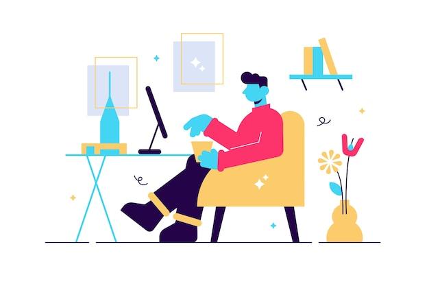 Personaje masculino joven que trabaja en los carteles de la oficina y plantas del interior del lugar de trabajo acogedor millennials en el trabajo