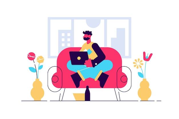 Personaje masculino joven sentado en el sofá
