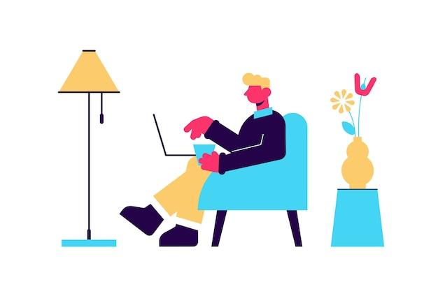 Personaje masculino joven trabajando en una computadora portátil desde casa