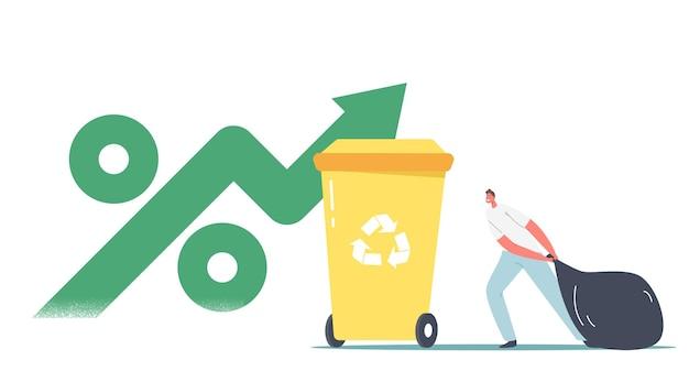 Personaje masculino lleva la bolsa de basura a la papelera con letrero de reciclaje y una enorme flecha verde con símbolo de porcentaje