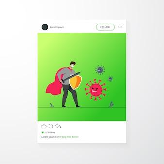 Personaje masculino con mascarilla, sosteniendo espada y escudo y luchando contra el coronavirus. ilustración de vector de covid19, protección antivirus, seguridad, concepto de salud