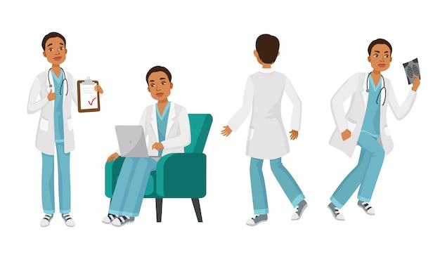Personaje masculino médico establecido con diferentes poses, emociones