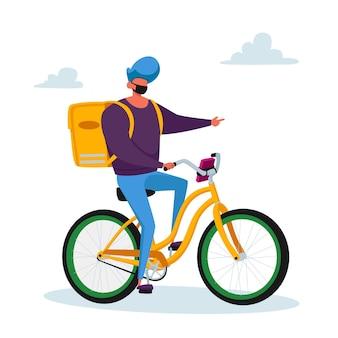 Personaje masculino mensajero entrega de productos alimenticios al cliente en bicicleta. servicio de entrega urgente durante la pandemia de coronavirus