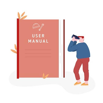 Personaje masculino mirando enorme manual de usuario
