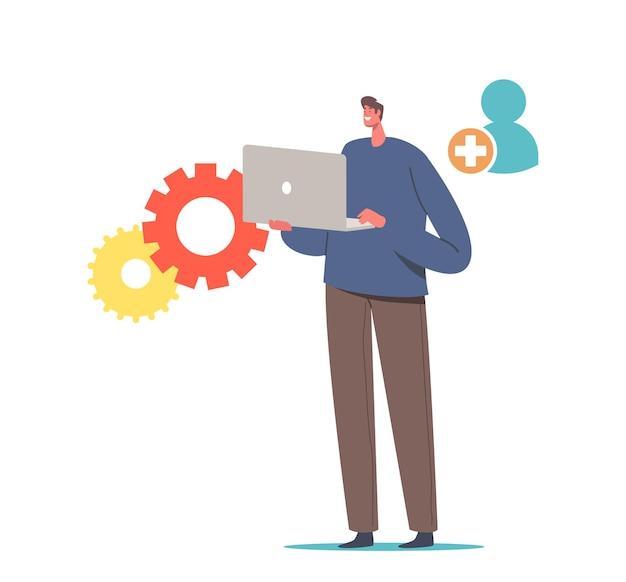 Personaje masculino de nuevo usuario con computadora portátil en las manos regístrese en el sitio web o regístrese en la comunidad de internet y abra el registro en línea, cree una cuenta a través de un dispositivo digital. ilustración de vector de gente de dibujos animados