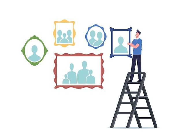 Personaje masculino de pie en la escalera para colgar retratos de familiares y fotografías de familia en la pared. memoria, colección de fotografía en casa, relaciones familiares y concepto de vinculación. ilustración de vector de gente de dibujos animados