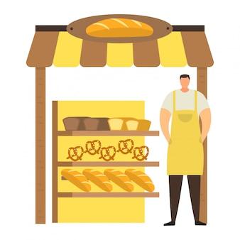El personaje masculino profesional del panadero en delantal vende el producto de la panadería, el quiosco urbano de la tienda de la calle, el pan comercial y los pasteles en blanco, ilustración.