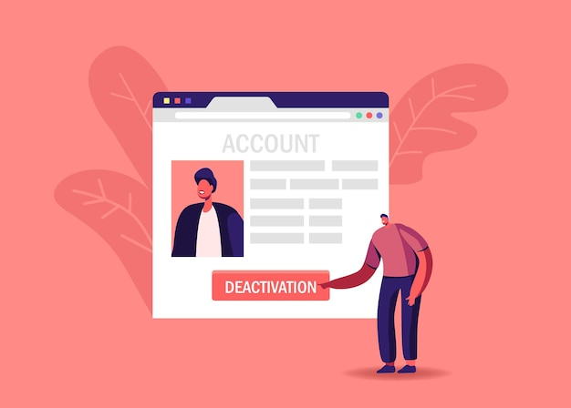 Personaje masculino pulsar botón desactivación eliminar cuenta social