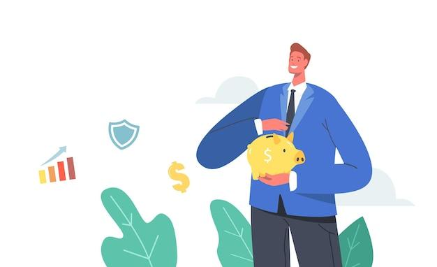 Personaje masculino que cubre la hucha de oro con la mano. el hombre cobra capital o pensión. ahorro de dinero en caja de ahorro, depósito bancario abierto. concepto de protección del presupuesto de finanzas. ilustración de vector de gente de dibujos animados