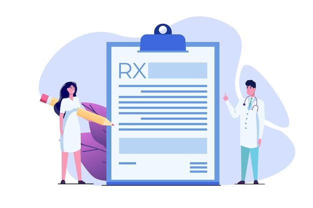 Personaje médico escribiendo formulario de prescripción rx. concepto de clínica online.
