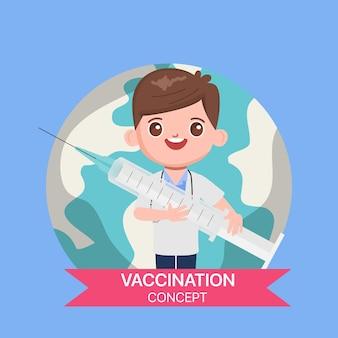Personaje médico con una vacuna para proteger de la vacuna contra la gripe covid-19.