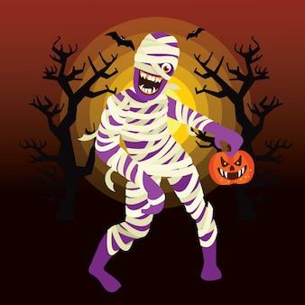 Personaje de momia de halloween