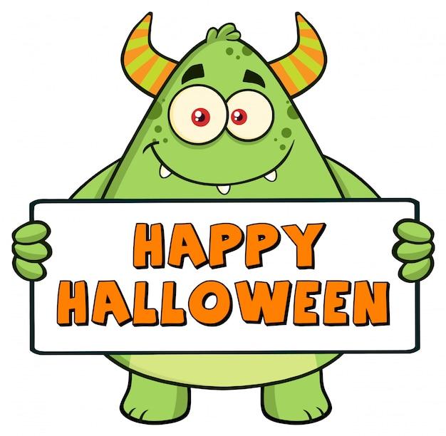 Personaje de monstruo verde con cartel