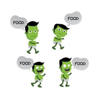Personaje monstruo verde zombie