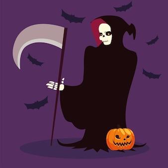 Personaje de muerte para feliz halloween.