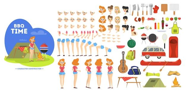 Personaje de mujer en barbacoa para animación