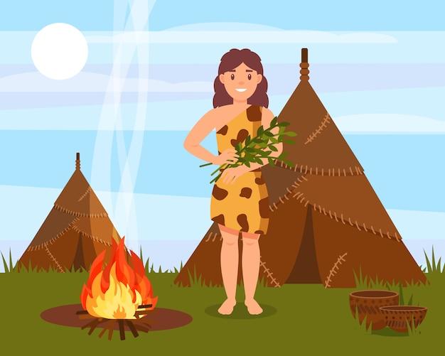 Personaje de mujer de las cavernas prehistóricas de pie junto a la casa hecha de pieles de animales, paisaje natural de la edad de piedra