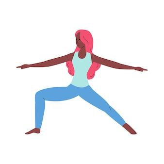 Personaje de mujer de dibujos animados delgado en plano de asana de yoga aislado