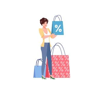 Personaje de mujer de estilo plano de dibujos animados sostiene productos con ilustración de descuento de compras