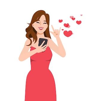 Personaje mujer hermosa video llamada conferencia con amante