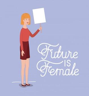 Personaje de mujer con mensaje feminista.