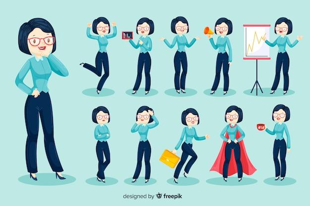 Personaje de mujer de negocios en 3d