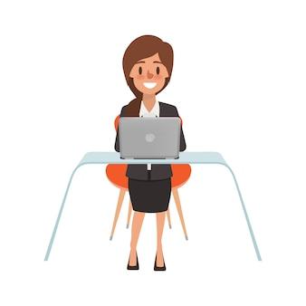 Personaje de mujer de negocios en call center.