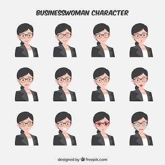 Personaje de mujer de negocios expresiva en diseño plano
