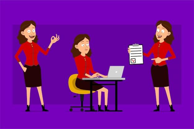 Personaje de mujer de negocios lindo divertido plano de dibujos animados en camisa roja. listo para animaciones. chica exitosa trabajando en una computadora portátil y mostrando la lista de tareas pendientes. aislado sobre fondo violeta. conjunto de iconos grandes.