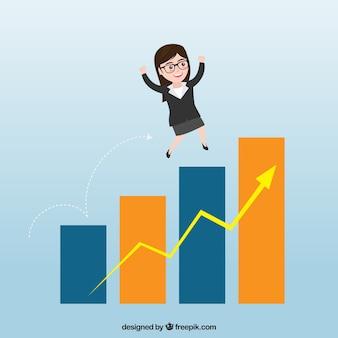 Personaje de mujer de negocios mejorando