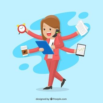 Personaje de mujer de negocios multitarea