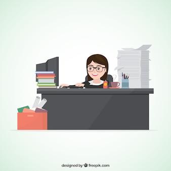 Personaje de mujer de negocios ocupada