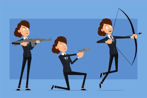 Personaje de mujer de negocios plano divertido de dibujos animados en traje negro con corbata negra. chica disparando con arco, pistola y rifle automático.