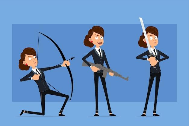 Personaje de mujer de negocios plano divertido de dibujos animados en traje negro con corbata negra. chica sosteniendo espada katana, rifle y tiro de arco.