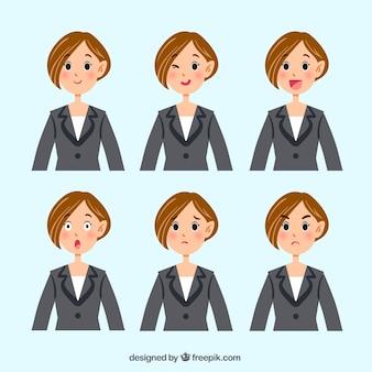 Personaje de mujer de negocios con varias expresiones faciales