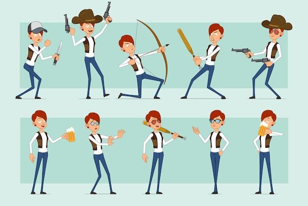 Personaje de mujer pelirroja divertida plana de dibujos animados en jeans y chaqueta de cuero. chica bebiendo cerveza, disparando con pistola y arco