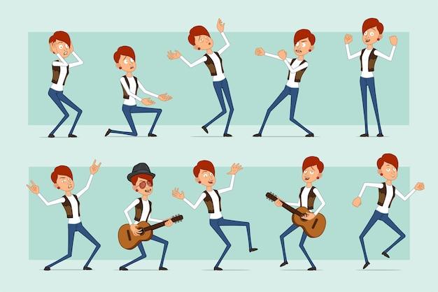 Personaje de mujer pelirroja divertida plana de dibujos animados en jeans y chaqueta de cuero. chica peleando, cayendo, bailando y tocando la guitarra.