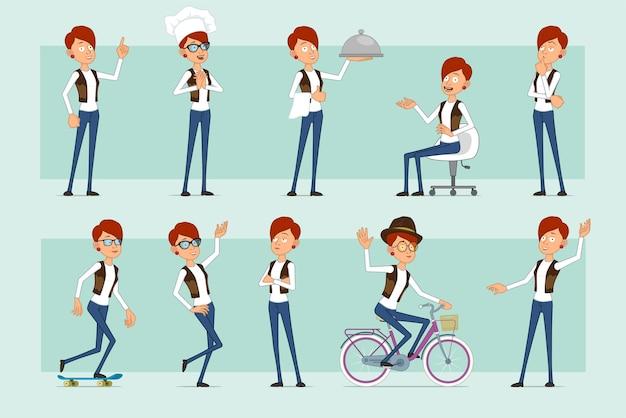 Personaje de mujer pelirroja divertida plana de dibujos animados en jeans y chaqueta de cuero. chica pensando, posando, montando en patineta y bicicleta