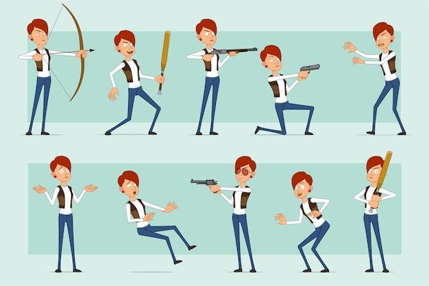 Personaje de mujer pelirroja divertida plana de dibujos animados en jeans y chaqueta de cuero. chica sosteniendo bate de béisbol, pistola, tiro de escopeta y arco