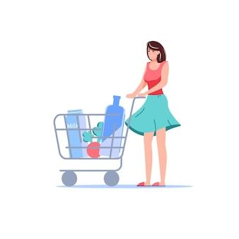 Personaje de mujer plana de dibujos animados con pedidos de bienes comprados